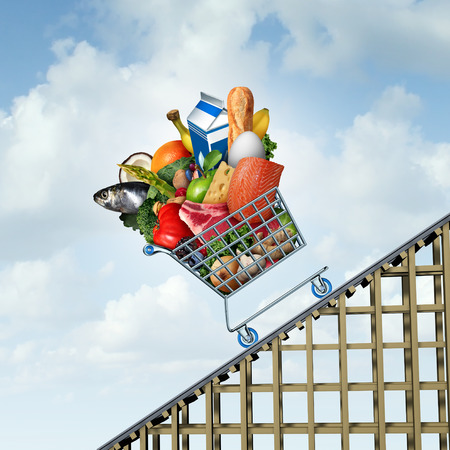 Food price increse and grocery bill rise with groceries going up as a shopping cart as an economic symbol for grocery budget hike with milk bread eggs and vegetables costing more with 3D illustration elements. Stock Photo