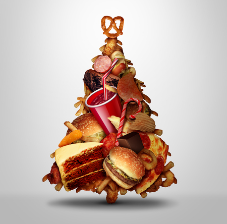 Christmas holiday eating and diet issues during winter holidays nutrition and obesity concept with 3D illustration elements. Stock Photo