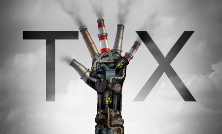 Carbon tax symbol of energy as oil and gas price increase and taxes on coal plants and nuclear fuel power plant shaped as a hand as a concept for environmental green tariffs with 3D illustration elements.