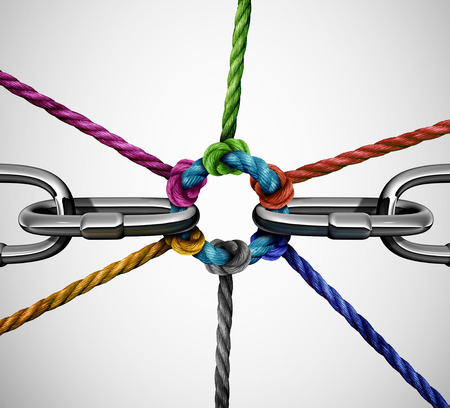 Connect partnership concept as diverse ropes connected together linking a broken metal chain as a business or life metaphor for community support or social togetherness with 3D illustration elements. Stock Photo