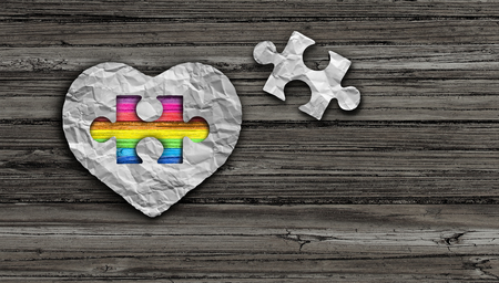 Autism awareness day and asperger syndrome disorder health symbol as a psychology and mental health symbol in a 3D illustration style. Stock Photo