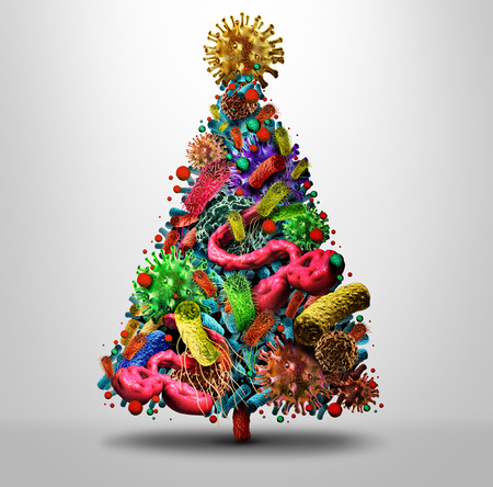 Christmas holiday flu season and winter illness medical health concept as a festive seasonal tree made og bacteria and virus disease pathogen cells as a medicine concept for fallig sick during the New Year as a 3D illustration.