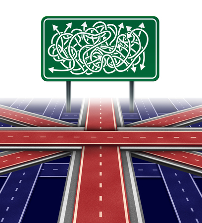 United Kingdom political uncertainty and brexit crisis challenge or parliamentary vote confusion as the union jack on a confusing maze as a british symbol with europe and the european union as a 3D illustration.