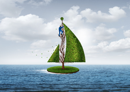 Geschäftsentwicklungsmetapher und strategisches kreatives Vorwärtsdenken als Person, die einen Baum in die Form eines sich bewegenden Segelboots mit 3D-Illustrationselementen formt.
