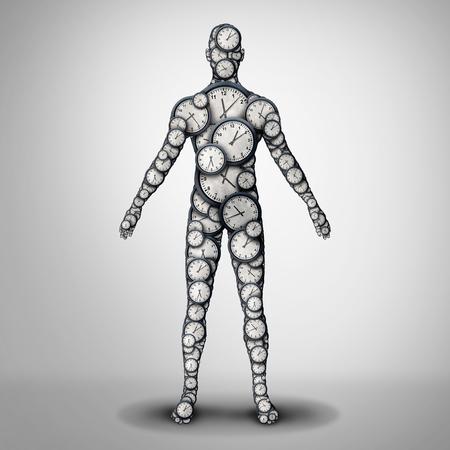 Salute dell'orologio corporeo e ritmo circadiano o disturbo del sonno e longevità della vita o concetto di medicina della durata della vita come illustrazione 3D. Archivio Fotografico