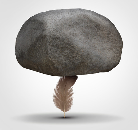 Concept of potency and stability as a potent health symbol or business metaphor for tenacity and stability as a feather hiolding a huge rock in a 3D illustration style. Stockfoto
