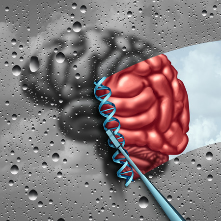 Brain science  and cognitive neuroscience discovery as a mental health psychology or psychiatry stem cell therapy concept with a dna strand with 3D illustration elements.