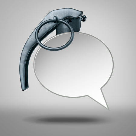 Speech bomb and hate talk or abusive language social issue symbol representing cyberbullying as a 3D illustration.