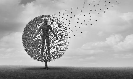 Menschliches Altern und Sterben der Lebenserwartung oder medizinisches Symbol der Lebenserwartung für altersbedingte Gesundheitsprobleme und Langlebigkeit mit 3D-Illustrationselementen.