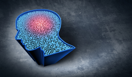 Problem solving as a mental therapy and cognitive exercise symbol as a maze shaped as a human head representing brain training health treatment as a 3D illustration. Stock Photo