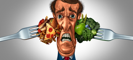 Diet choice stress and nutrition choices as a stressed person being pressured by healthy vegetables and fruit with high cholesterol greasy fast food with 3D illustration elements. Stock Photo