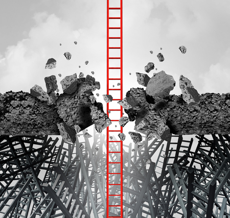 Business success breakthrough metaphor symbol of a career ladder breaking through an obstacle to achieve a financial or life goal with 3D illustration elements. Reklamní fotografie