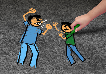 Concept of bullying and a school bully threat as a childhood fear psychology as an afraid child drawing an abuser intimidating a vulnerable victim in a 3D illustration style. Stock Photo