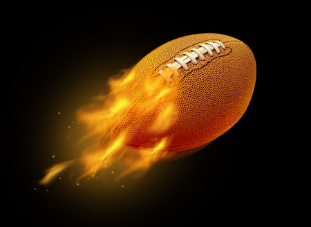 Flying burning American football with burning flames on a black background with 3D illustration elements. Stok Fotoğraf