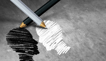 Black and white issues and social diversity or diverse community support symbol as two contrasting pencils drawing two cultural different people with 3D illustration elements.