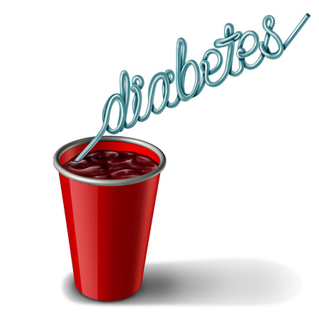 Diabetes signs and diabetic health risk as high level of glucose or sugar in the diet as soft drinks with insulin imbalance as a medicine and juvenile obesity concept with 3D illustration elements.