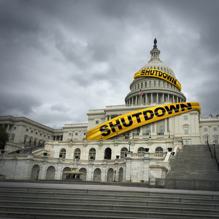 USA shutdown and United States government closed and american federal shut down due to spending bill disagreement between the left and the right pas a national finance symbol with yellow hazard tape in a 3D illustration style. Stock Photo