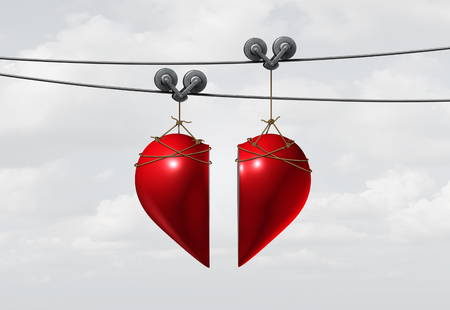 Valentine love connection or valentines day dating and a couple joining together in a romantic relationship as two halves of a red heart merging as a 3D illustration.
