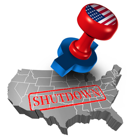 Shutdown of the American or United States government and USA closed or federal shut down due to spending bill disagreement between the left and the right pas a national finance symbol with 3D illustration style.