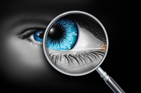 Human technology implant and artificial augmentation as an intelligence AI Robot eye as biology is merged and augmented with an electroniv mechanical device with 3D illustration elements.