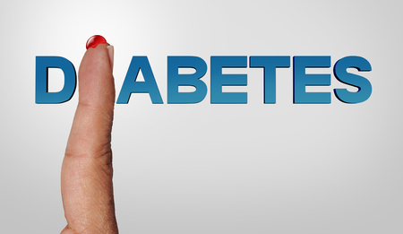 Diabetes concept and diabetic and medicine text symbol as a blood drop on a finger as an insulin deficient hypoglycemia concept with 3D illustration elements. Stock Photo