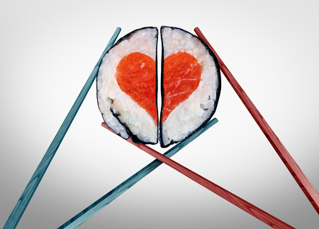 Valentine dinner for two as a saint valentines celebration of love with food as chopsticks coming together joining as a romantic couple with sushi shaped as a heart symbol with 3D illustration elements. Stock Photo