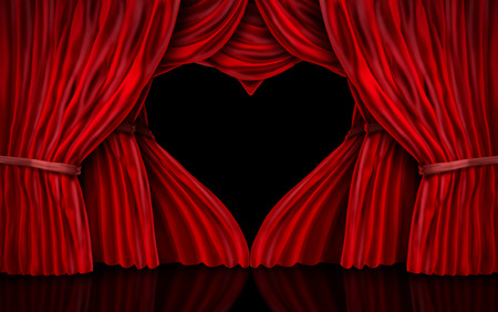 Valentines day red velvet curtains as a romantic stage with drapes shaped as a heart as a 3D illustration. Stock Photo