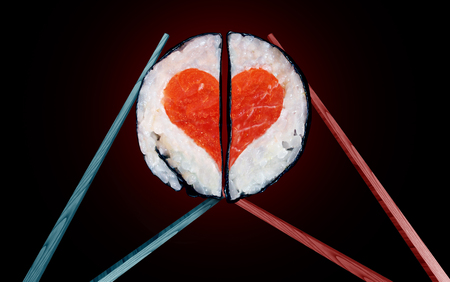 Romantic dinner and valentine lunch for two as a saint valentines celebration of love with food as chopsticks coming together joining as a couple with sushi shaped as a heart symbol with 3D illustration elements.