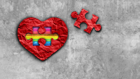 Valentines inside love and valentine love symbol as diversity dating and romantic relationship as a puzzle piece with a rainbow on a red heart as a 3D illustration. 写真素材