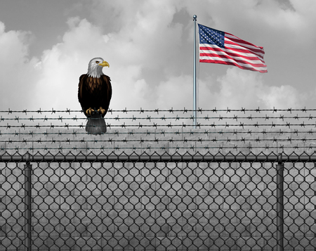 American eagle on security border as an illegal or legal immigration and customs barrier or government shutdown concept with a United States flag with 3D illustration elements.