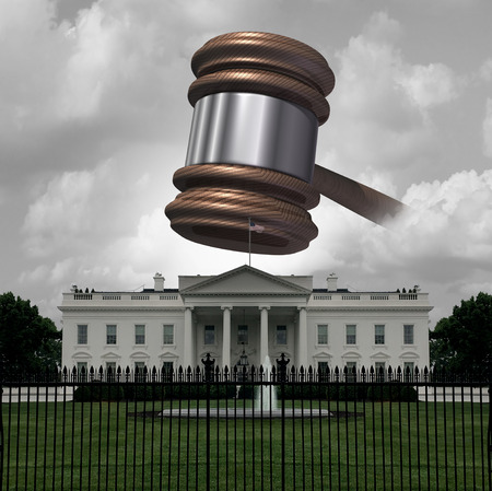 White house legal trouble and United States law crisis representing presidential administration court decision and government lawsuit or state of emergency with 3D illustration elements.