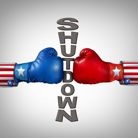 Republican Democrat shutdown political fight  as a USA government shut down and United States closed or American federal debate due to spending bill between the left and the right with 3D illustration elements. Stock Photo