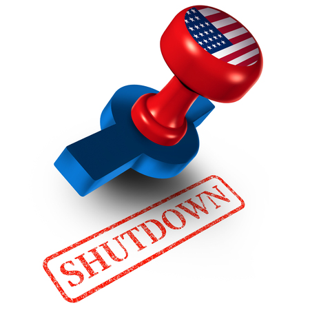 Government shutdown USA and United States closed or american federal shut down due to spending bill disagreement between the left and the right as a national finance symbol as a 3D illustration.