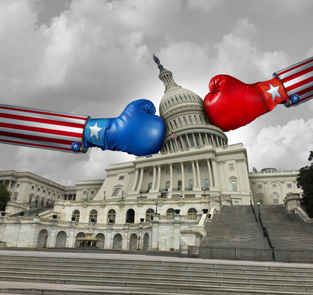 USA government fight and United States government disagreement and american federal shut down crisis due to political partisan fighting between the left and the right pas a national debate with 3D illustration elements. Stock Photo