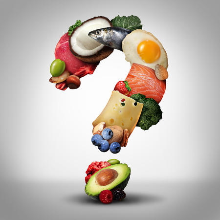 Keto diet questions and ketogenic low carb and high fat food  eating lifestyle as fish nuts eggs meat avocado and other nutritious ingredients as a therapeutic meal shaped as a question mark as a 3D i
