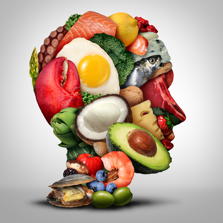 Keto nutrition lifestyle and ketogenic diet low carb and high fat food eating as fish nuts eggs meat avocado and other healthy ingredients as a therapeutic meal shaped as a human head in a 3D illustra 스톡 콘텐츠