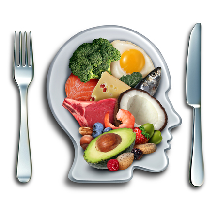 Keto ketogenic diet low carb and high fat food eating lifestyle as fish nuts eggs meat avocado and other nutritious ingredients as a therapeutic meal lifestyle on a plate shaped as a head with 3D illustration elements.