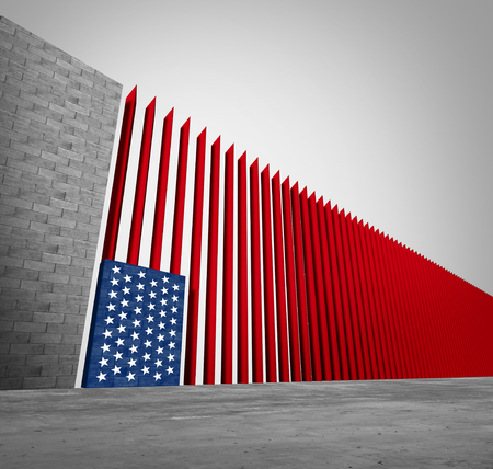 United States border wall and American immigration and USA refugee crisis concept as barrier or steel slat fence shaped as a US flag as a social issue about refugees or illegal immigrants as a 3D illustration.