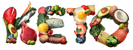 Keto ketogenic food text diet as a low carb and high fat food eating lifestyle as fish nuts eggs meat avocados as a therapeutic meal isolated on a white background with 3D illustration elements.