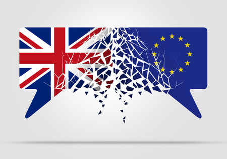 European Community and United Kingdom broken communication symbol with the flag of the UK and Europe in a 3D illustration style. Stock Photo