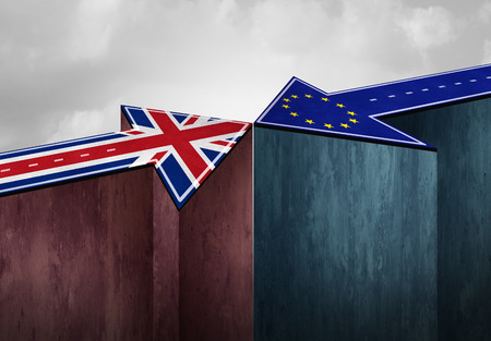 Britain brexit challenge or British exit  problem as a UK political crisis with the European Union agreement as a crushing defeat of a Europe deal face off stress and trade negotiation concerns 3D illustration.