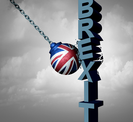 Brexit or Britain exit  problem as a British political crisis with the European Union agreement as a crushing defeat of a Europe deal exit strategy after parliament crushing rejection as a 3D illustration.