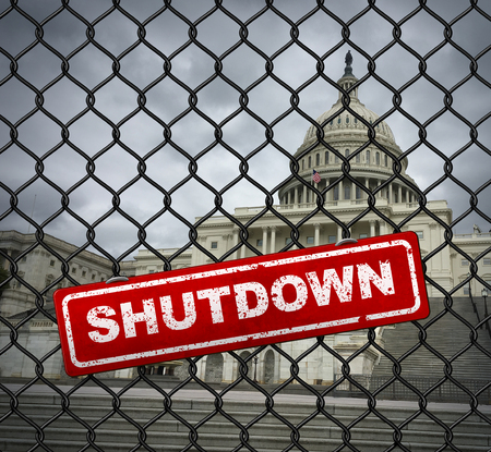 US shutdown and United States government closed and american federal shut down due to spending bill disagreement between the left and the right pas a national finance symbol with 3D illustration style.