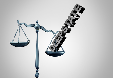 Deep state clandestine government and secret political justice manipulating the laws or system of politics as a covert plan to secretly influence the leadership and conspiracy theory on the rule of law of the nation as a 3D illustration.