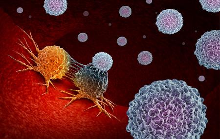La inmunoterapia contra el cáncer como un concepto de terapia del sistema inmunológico humano como un tratamiento oncológico biomédico o biomedicina que utiliza las propiedades naturales del cuerpo para combatir las células T como un render 3D.