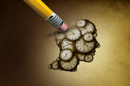 Time planning loss and losing memory concept as a group of clock objects shaped as a human head as a business punctuality and appointment stress metaphor or deadline pressure and overtime icon as a 3D illustration. Stock Photo