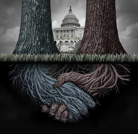 USA secret politics and deep state clandestine government deal manipulating the laws or system of politics as a covert plan to secretly influence the leadership and conspiracy theory with 3D illustration elements. Stok Fotoğraf