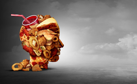Junk food concept and eating unhealthy snacks psychology and fast food diet psychology as greasy fried restaurant take out as a symbol of overeating and temptation as unhealthy nutrition with 3D illustration elements. Stock Photo