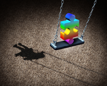 Childhood autism developmental disorder puzzle as a children symbol or an autistic child awareness icon as a jigsaw piece in a playground park on a swing with 3D illustration elements.