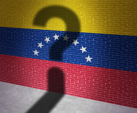 Venezuela crisis and Venezuelan political situation as uncertainty in Caracas and a question shadow on the flag of the south american country in a 3D illustration style. Stock Photo